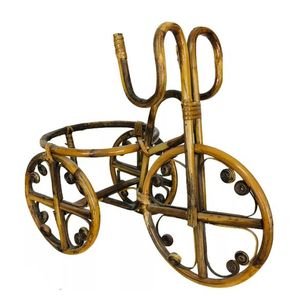 Vintage Bamboo Rattan Bicycle Tricycle Plant Holder Stand